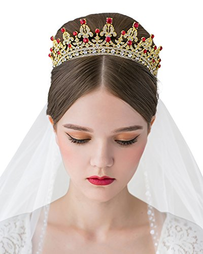 SWEETV Costume Tiara Crown CZ Crystal Wedding Pageant Tiara Bridal Headpiece Women Hair Jewelry, Gold+Ruby
