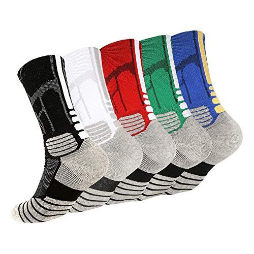 Tisone Elite Basketballsocken, gepolstert, wadenhoch, athletische Sportsocken für Jungen, Mädchen, Männer und Frauen - - Large