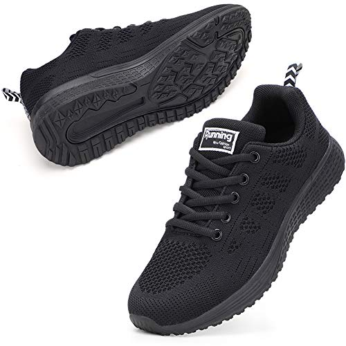STQ Damen Laufschuhe Freizeit Walking Schuhe Mesh Atmungsaktiv Fitness Schuhe Outdoor Sportshuhe Alles Schwarz EU37