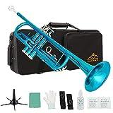 Eastrock Trumpet Standard Brass Bb Sea Blue Trumpet Instrument with Hard Case,Five Legs Trumpet Stand,Gloves, 7C Mouthpiece, Valve Oil for Student Beginner