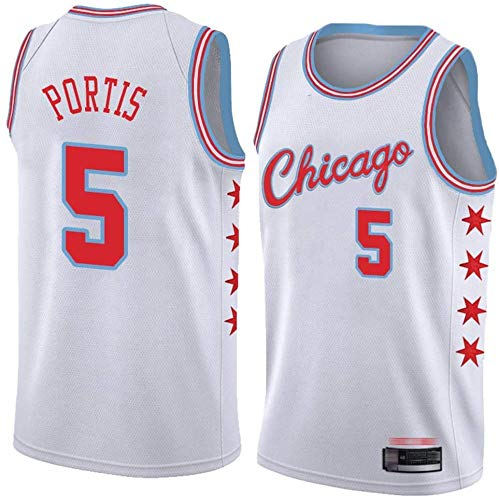 XSJY Jerseys De Baloncesto para Hombres - NBA Chicago Bulls # 5 Bobby Portis Swingman Edition Mess Jersey Unisex Vest con Mangas Sin Mangas Top Sportwear,L:175~180cm/75~85kg