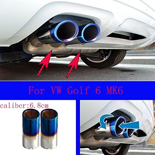 Nouveaux 2 pcs en acier inoxydable Chrome Queue de silencieux d'échappement Tuyau d'échappement moitié Bleu pour golf 6 MK6 2009 2011 2012
