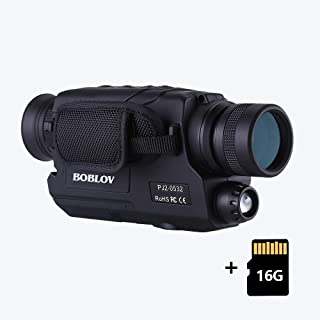 BOBLOV Digital Night Vision Monocular 5x32 Optics Scope Night Vision Infrared Monoculars with 16GB Card for Hunting Observe (PJ2 with 16G Card)