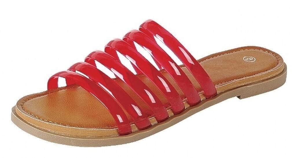 Harper Shoes Womens Strappy Slip-On Jelly Flat Slide Sandal