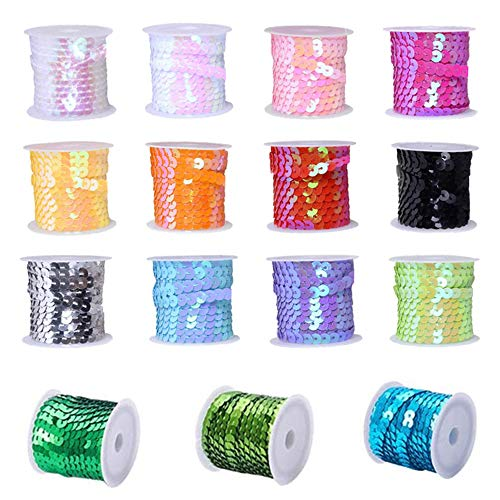 Aweisile Sequin String 15 Rolls Sequin Trim 5m Sequins Ribbon Paillette Iridescent Spangles Sequin Strips for DIY Art Craft Necklace Sewing Clothing Dress Decoration(6mm)