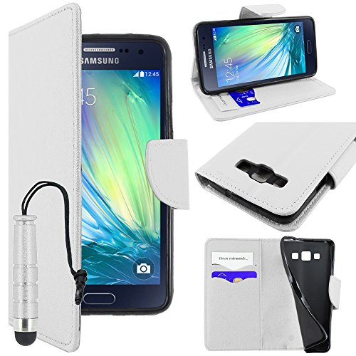 ebestStar - kompatibel mit Samsung Galaxy A3 Hülle SM-A300F (2015) Kunstleder Wallet Case Handyhülle [PU Leder], Kartenfächern, Standfunktion + Mini Stift, Weiss [Phone: 130.1 x 65.5 x 6.9mm, 4.5'']