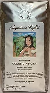 Angélica's Coffee, Colombia Huila Supremo, Single-Origin, Medium-Dark Roast, Whole Bean, 1-Pound Bag