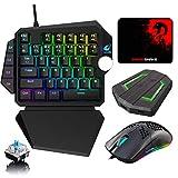 Tastiera da gioco con aggiornamento cablato RGB Poggiapolsi staccabile+Mouse da gioco USB...