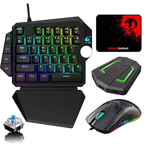Tastiera da gioco con aggiornamento cablato RGB Poggiapolsi staccabile+Mouse da gioco USB programmabile+Convertitore retroilluminato a LED per Nintendo Switch/Xbox/PS4/PC+ Tappetino per mouse(Nero)