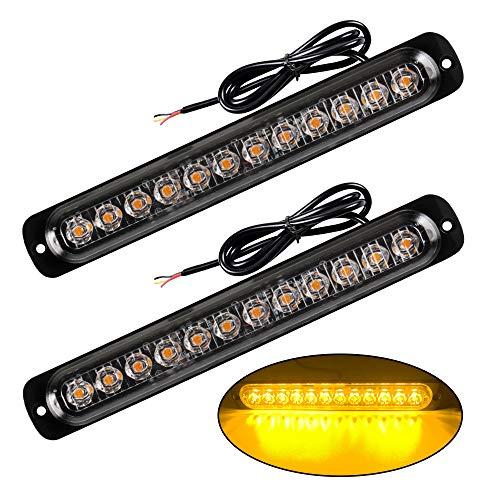 2 Unids Súper Brillante 12 LED Lámpara de Advertencia de Emergencia Ambar Intermitente Luz Estroboscópica Barra de la Lámpara Intermitente Universal para 12-24 V Car Truck Trailer Caravan