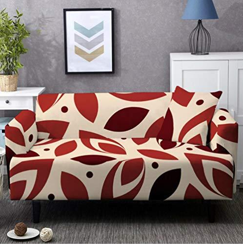 Fundas de Sofá Elastica 2 PlazasPatrón de Flor roja Funda Cubre Sofa Regalar 2 Funda de Cojines Funda para Sofá Funda de sofá de Sillón Antideslizante Protector Cubierta de Muebles