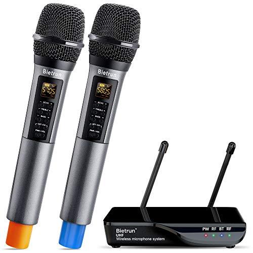 Bietrun Wireless Microphone with Echo, Treble, Bass & Bluetooth, 160 FT Range, UHF Portable Dual Handheld Karaoke Dynamic Microphone System, for Karaoke Machine, Party Singing, Wedding, Amp, PA System