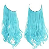 Colored Halo Hair Extensions Pastel Light Sky Aqua Blue Curly Long Synthetic Hairpiece 16 Inch 3.9 Oz Hidden Wire Headband for Women Girl Kid Party Heat Friendly Fiber No Clip SARLA(M03&Pastel Blue)