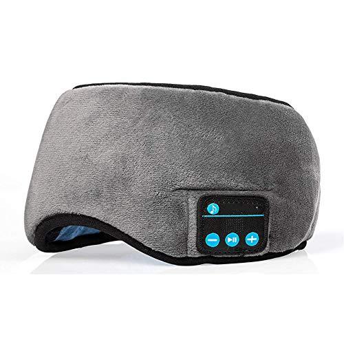 Schlafkopfhörer Bluetooth Musik Augenmaske, Bluetooth Kopfhörern mit HD-Stereo-Sound, Travel Sleeping Headset Weich & Bequem mit Verstellbarem Gurt,Grau