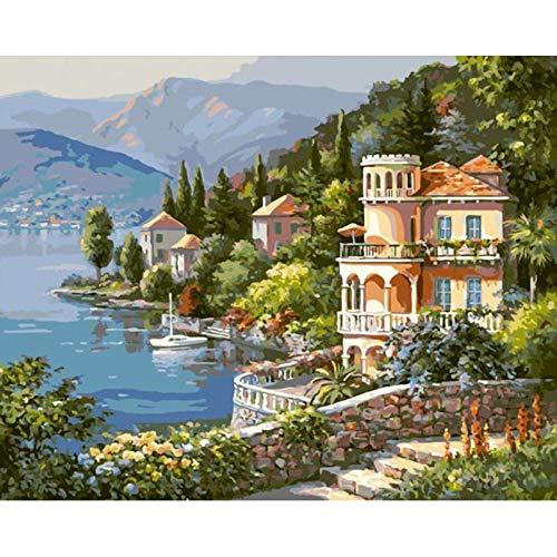 Szyuy Schilderij op nummers, voor volwassenen, schilderijen, doe-het-zelf, olieverfschilderij voor volwassenen, knutselen, cadeau, decoratie voor thuis, slot, deur 40 cm x 50 cm