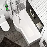 Abacus 1700 x 850mm Left Hand P-Shaped Shower Bath Bathtub with Acrylic Front & End Panel   Glass Shower Screen