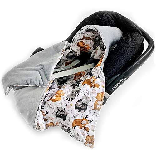 BABEES Manta acolchada de invierno con relleno para portabebés y asiento de coche, universal, por ejemplo, Maxi-Cosi Römer Cybex, con cierre de velcro para cochecito, portabebés y cuna