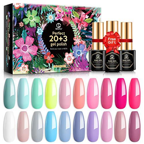 MEFA Gel Nail Polish Set 23 Pcs with Gift Box, Soak Off Nail Gel Polish Summer Colors Gel Varnish with Base Coat and No Wipe Glossy Matte Top Coat Nail Art