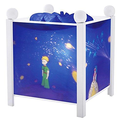 Trousselier - Der kleine Prinz - Nachtlicht - Magische Laterne - Ideales Geburtsgeschenk - Farbe Holz weiß - animierte Bilder - beruhigendes Licht - 12V 10W Glühbirne inklusive - EU Stecker