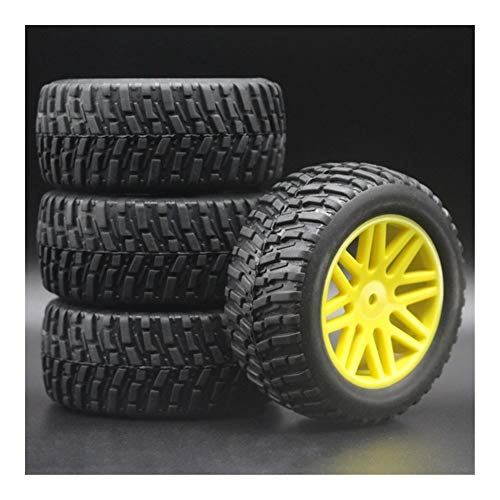 HONG YI-HAT 4pcs 1/10 RC Model 4WD Sport Pull Rally Car Wheel Rims&Tires Diameter 95mm, Width 37mm for HSP HIMOTO REDCAT 2.2' Tyres 608-7007 Spare Parts (Color : Yellow)