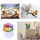 Tablettenbox 7 Tage 4 Fächer - Rund Pillenbox mit Kostenlosem Pillendose Schlüsselanhänger, Tablettendose Morgens Mittags Abends Nachts - Ideal für Medikamente, Tabletten, Vitamins - 6