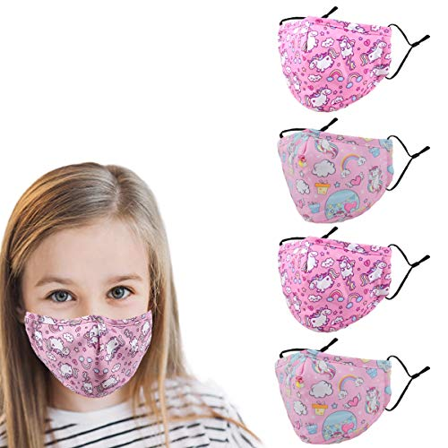 Washable Reusable Kids Face Mask , Unicorn Cute Funny Designer Breathable Cloth Cotton Madks Facemask for Girl Boy Children Toddler Gift mascarillas , Fabric Covering Adjustable Ear Loops Protection