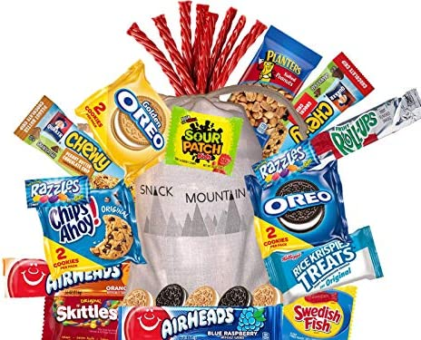 Epic Care Package Gift Bag with Cookies Granola Bars Peanuts Candies Gum Fruit Snacks Snacking product image