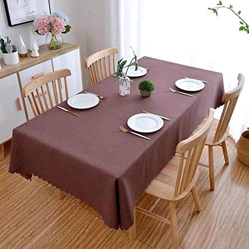 YuHengJin Rectangular Oblong Table Cloths Anti Scalding Cotton and Linen for Home Dining Decor Kitchen Garden Outdoor Tablecloth Dark Brown 140×140cm