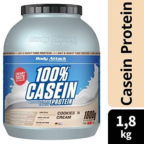 Body Attack 100% Casein Protein Cookies & Cream, 1er Pack (1 x 1.8 kg) - 2