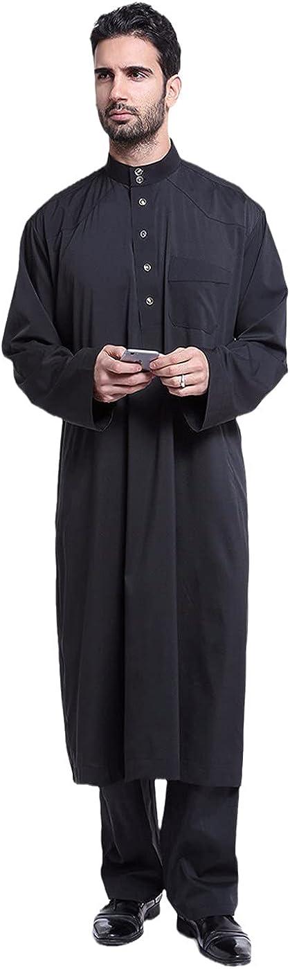Dubai Arab Islam Muslim Robes Sets, Men Jubba Thobe Solid Long Kimono, Saudi Musulman Tops and Pants Sets