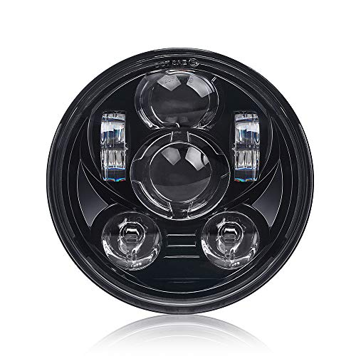 Lusgwufad 5-3/4 5.75 inch LED Headlight for Harley Davidson 883 Sportster Iron Dyna Street Bob Motorcycle Driving Light(Black)