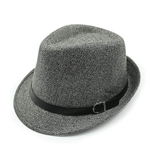 Britischer Stil Gestreifter Gürtelschnalle Zylinder Mode Lässig Jazz Hut 56-58CM Gürtelschnalle grau