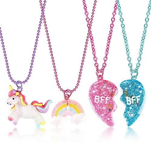Tacobear 4 Piezas Collar Amistad Collar Unicornio de la Amistad con Dijes Corazón Dividido Collar Mejores Amigos Caja Regalo Unicornio Collares de la Amistad BFF para 2 Niñas Regalos Cumpleaños