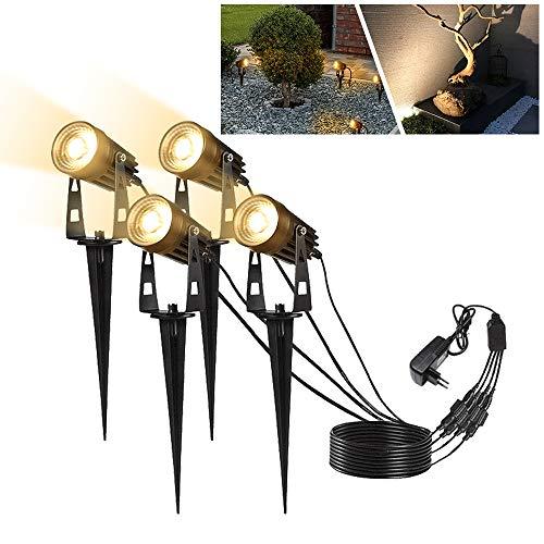 UISEBRT Gartenleuchten LED mit Erdspieß 4x5W - COB Gartenbeleuchtung Gartenstrahler Wasserdicht IP65 für Garten Teich (4 * 5W mit EU-Stecker)