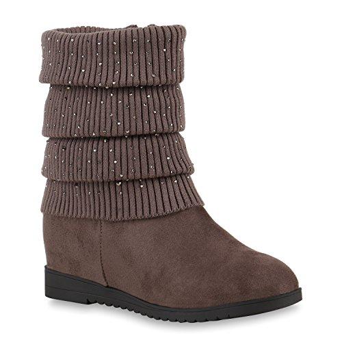 Damen Keilstiefeletten Strass Stiefeletten Schuhe 122568 Khaki Strass 36 Flandell