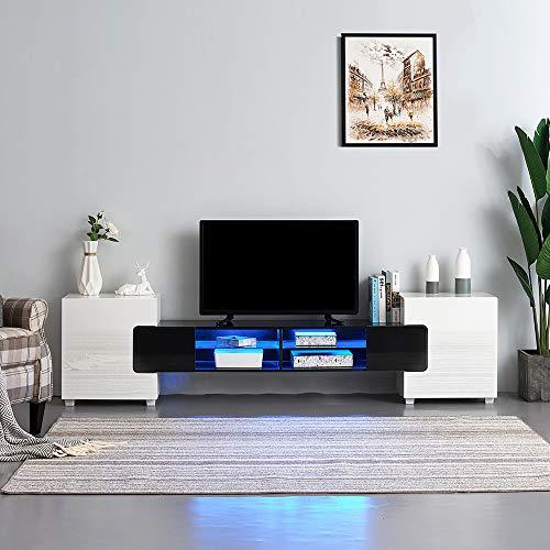 Meuble TV LED en MDF avec 4 Compartiments de Stockage + 2 Portes sur Salon et Chambre à Coucher, 230 x 35 x 53 cm (Noir+Blanc)