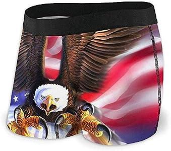 Calzoncillos bóxer para Hombre Eagle American Flag Ropa Interior Transpirable para Cadera con Cintura cómoda Talla L