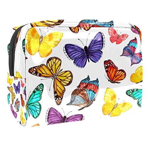 Bolsa de maquillaje de PVC para mujer y niña cosmética neceser organizador de bolsa de 7.3 x 3 x 5.1 pulgadas, diseño abstracto de leopardo