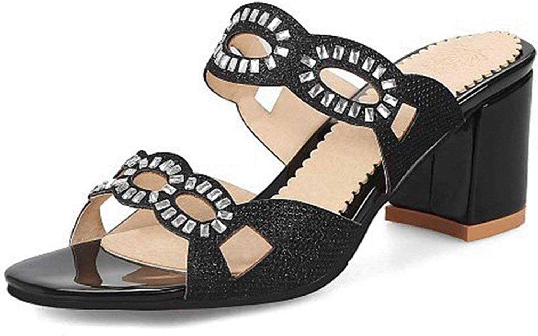 Fashion shoesbox Women's Sparkly Platform Chunky Heel Slide Sandals Open Toe Rhinestone Block Heel Dress Pump Sandal