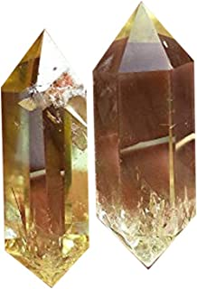 Natural Topaz Double Terminated Healing Crystal Point Vogel 6 Facet Wand Carved Reiki Stone For Wire Wrapping, Grids, Crafts, Reiki, Wicca and Energy-Approx 1.8-2