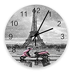 Roses Garden 12-Inch Indoor Silent Non-Ticking Wall Clock Eiffel Tower and Pink Motorcycle in The Rainy World Battery Operated Home Decor Wall Clock for Living Room/Kitchen/Office