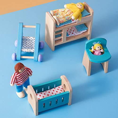 RUIXIA Miniatur Holz Puppenhausmöbel Puppenhaus Möbel Zubehör Minipuppenhäuser Ausstattung Kinderzimmer Schlafzimmer Kinderspielzeug Holzspielzeug Set für Mädchen, Junge