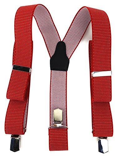 TigerTie Unisex Hosenträger in Y-Form mit 3 extra starken Clips - Farbe in rot weiß gepunktet - hochwertige Verarbeitung - Breite 35 mm