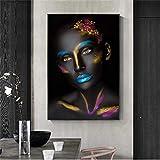 YUZE Carteles e Impresiones de Aceite de Mujer Africana en la Pared Cuadros de Maquillaje Negro para niña Cuadros para decoración del hogar decoración de otoño Cartel de Arte 20x24 Inch Sin Marco