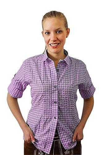 Klassisches DamenTrachtenhemd 3/4 Arm Farbe rot, hellblau oder lila Gr. 32-50 (42, lila)