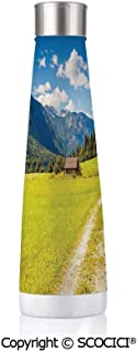 Double Wall Stainless Steel Travel Mug Insulated 17.5 oz / 500ml Nature Julian Alps Mountain Valle Rural With Wooden Country House Paradise Picture,Lime Green Sky Blue