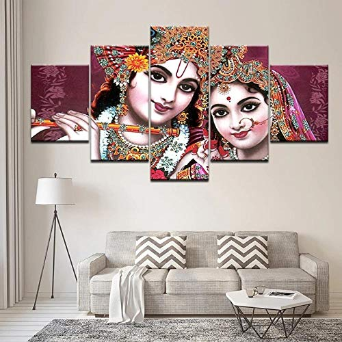 ADKMC 5 Pieces Canvas Wall Art HD Prints Painting Framed India God Radha Krishna Poster Modern Living Room Decor Modular Picture Abstract Mural Birthday Gift (200x100cm)