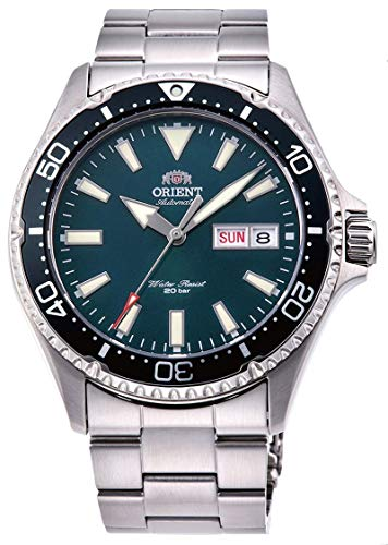 Orient RA-AA0004E Men's Kamasu Stainless Steel Black Bezel Green Dial...