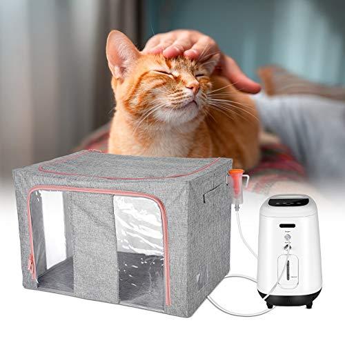 HUKOER Jaula de oxígeno portátil para mascotas Caja de atomización plegable para animales pequeños Jaula de animales para tratamiento respiración 60,5 x 42,5 x 39,5 cm (sin máquina de oxígeno)
