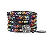 PLTGOOD 5 Wrap Leather Bead Bracelet for Men Women Cuff Rope Adjustable 7 Chakras Handmade Yoga Healing Stone Beads Bracelet Bangle